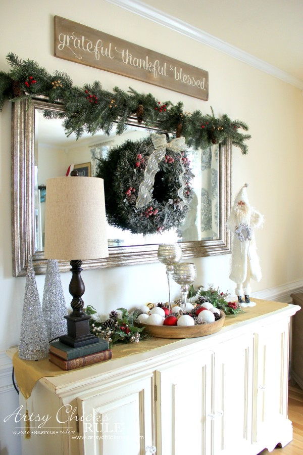 Christmas Home Tour 2015 - Dining Buffet - artsychicksrule.com #christmashometour