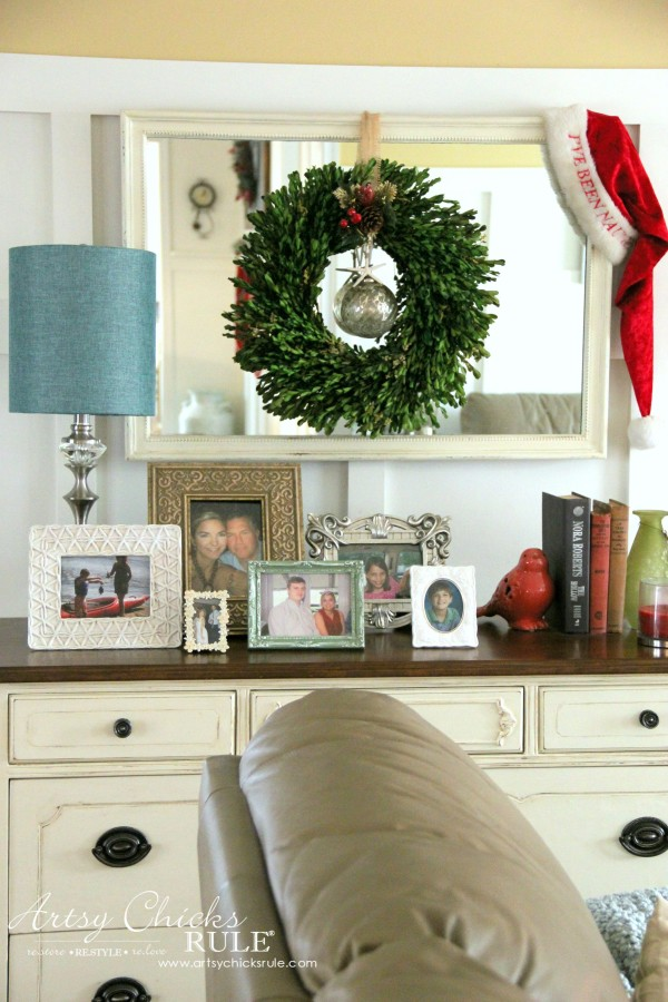 Christmas Home Tour 2015 - Family Room Antique Dresser - artsychicksrule.com #christmashometour