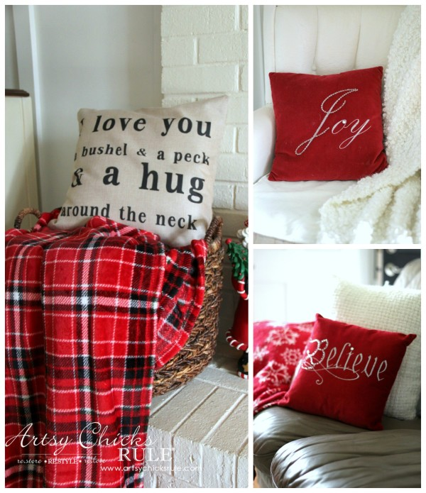 Christmas Home Tour 2015 - Holiday Pillows - artsychicksrule.com #christmashometour