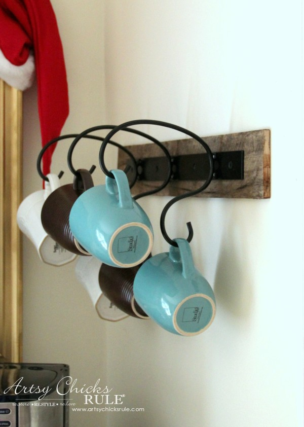 Christmas Home Tour 2015 - New Mug Rack with Pallet Board - artsychicksrule.com #christmashometour
