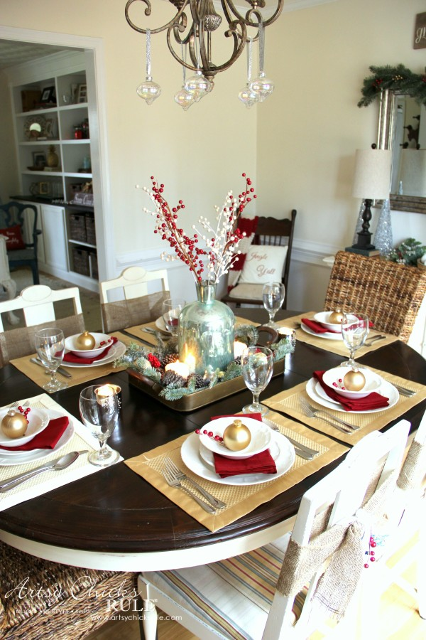 Christmas Home Tour 2015 - Red and Gold Table Setting - artsychicksrule.com #christmashometour