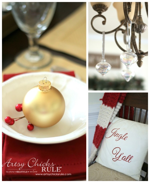 Christmas Home Tour 2015 - Simple Place Setting, Chalk Painted Pillow - artsychicksrule.com #christmashometour
