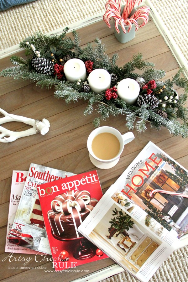 Christmas Home Tour 2015 - Tabletop Decor with DIY Driftwood top - artsychicksrule.com #christmashometour