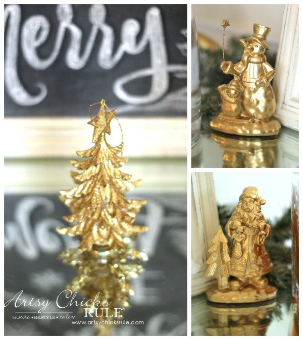 Christmas Home Tour 2015 - Thrifty Makeovers with Gold Spray Paint - artsychicksrule.com #christmashometour