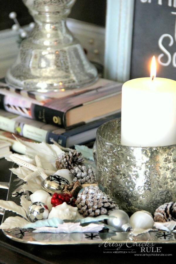 Coastal Christmas Foyer - Shells, pine cones and mercury glass - artsychickrule.com #Christmasdecor #coastalChristmas
