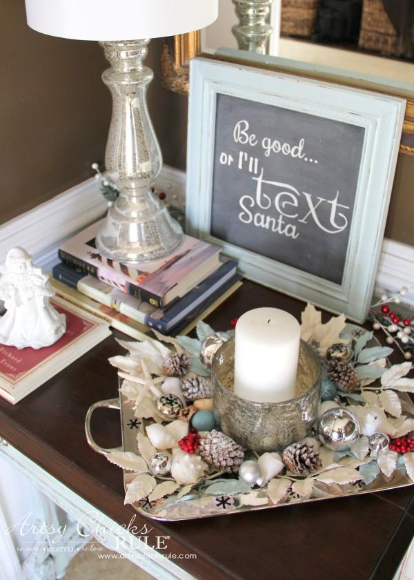Coastal Christmas Foyer - Teals and Silvers - artsychickrule.com #Christmasdecor #coastalChristmas