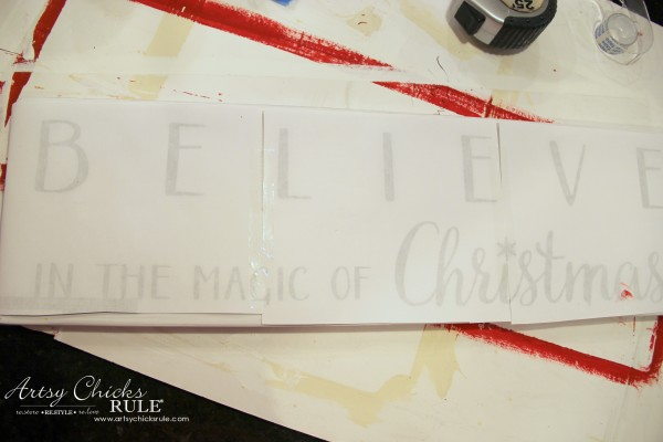 DIY Believe in the Magic of Christmas Sign - EASY Image Transfer - #artsychicksrule #Christmassign #believesign