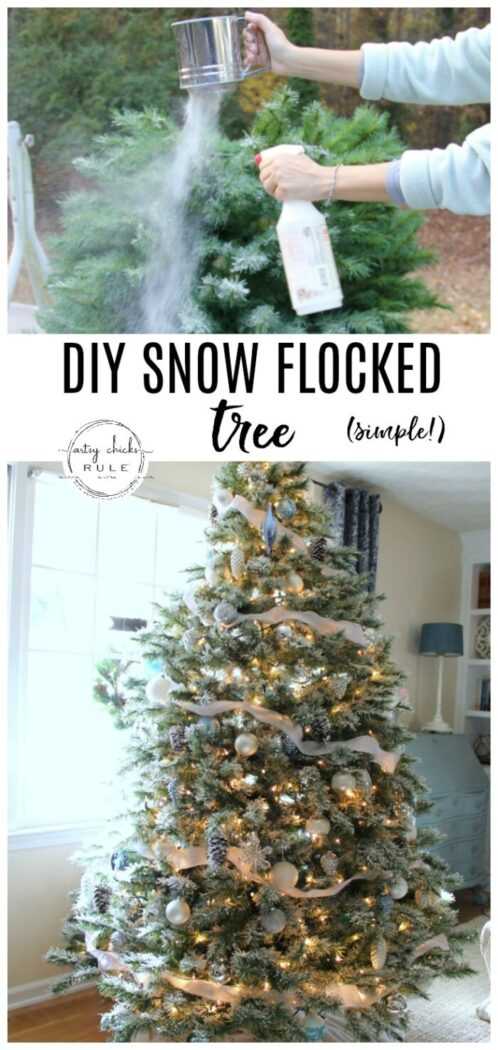 DIY Flocked Tree- Simple Technique! - artsychicksrule.com #snowflockedtree #howtoflocktree #snowflocking #diyflockedtree