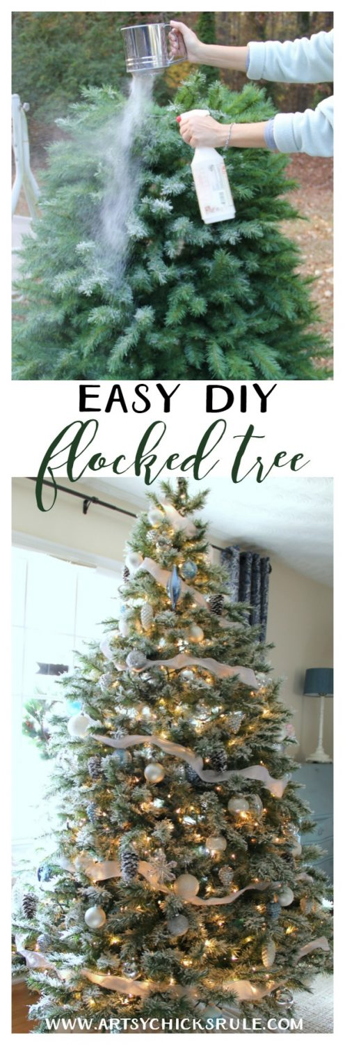 Who knew it was this easy! DIY Flocked Tree!! artsychicksrule.com #flockedtree #diyflocked