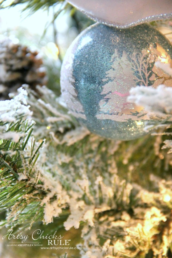 DIY Flocked Tree, Wreaths - Thrifty Holiday Decor! - Pretty Aqua Ornament - #artsychicksrule #flockedtree