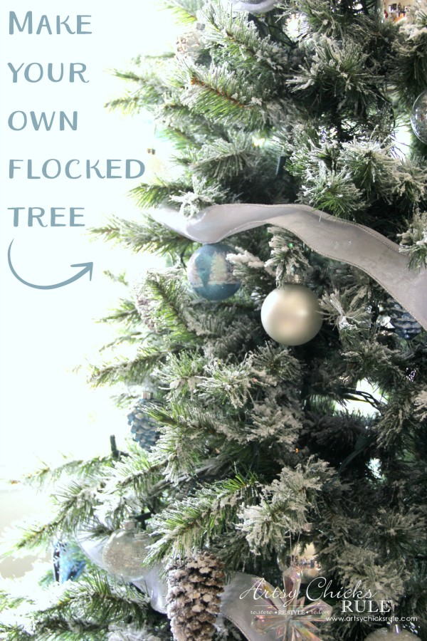 DIY Flocked Tree, Wreaths - Thrifty Holiday Decor! - SO pretty - #artsychicksrule #flockedtree