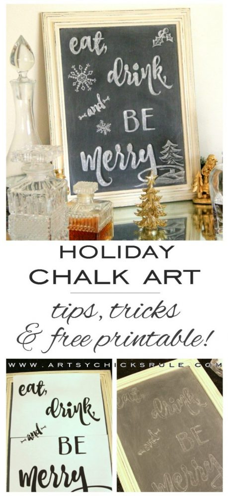 Eat, Drink and BE Merry Chalk Art - Chalkboard ART -#holidaysign #chalkart #holidaydecor #freeprintable #eatdrinkbemerry artsychicksrule.com