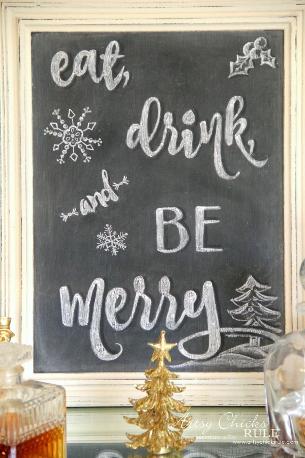 Eat, Drink and BE Merry Chalk Art - Chalkboard ART -#artsychicksrule #freeprintable #eatdrinkbemerry artsychicksrule.com