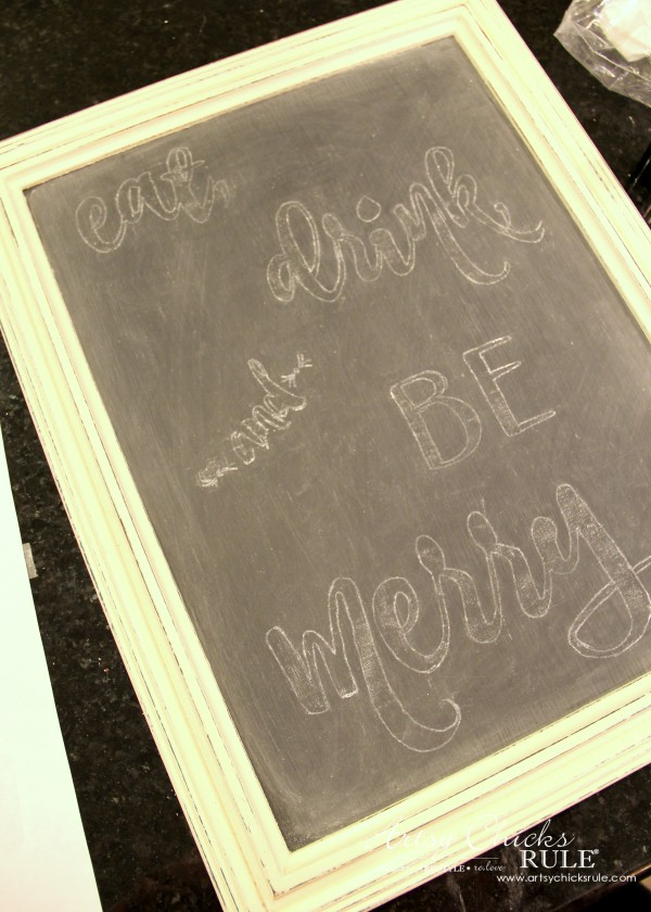 Eat, Drink and BE Merry Chalk Art - Cleaning up Tranferred Image -#artsychicksrule #freeprintable #eatdrinkbemerry