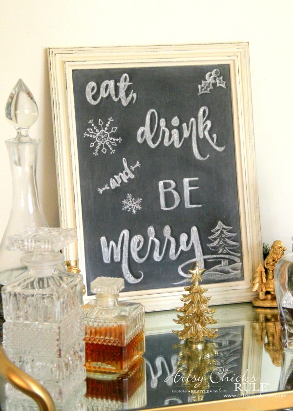 Eat, Drink and BE Merry Chalk Art - FREE printable -#artsychicksrule #freeprintable #eatdrinkbemerry