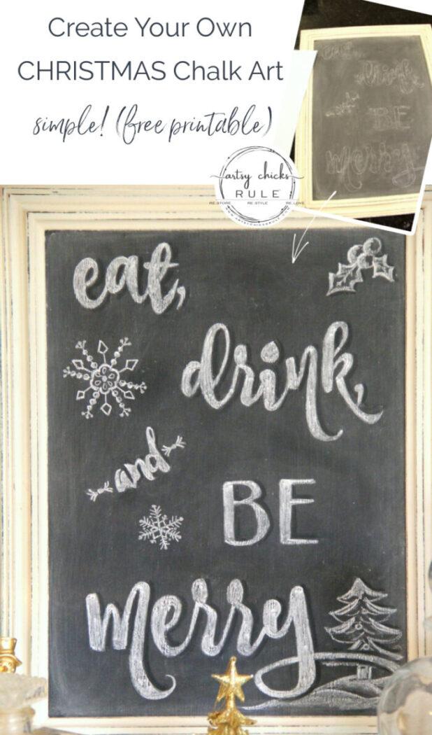 Eat, Drink, and Be Merry Chalk Art and FREE Printable! artsychicksrule.com #chalkart #eatdrinkbemerry