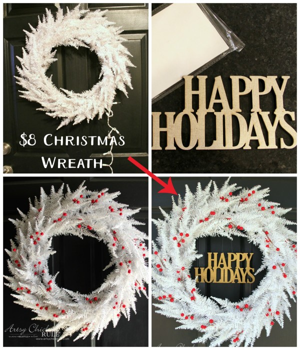 Red and White Christmas Wreath - thrifty find made over - $8 THRIFTY WREATH - artsychicksrule.com #redandwhitewreath