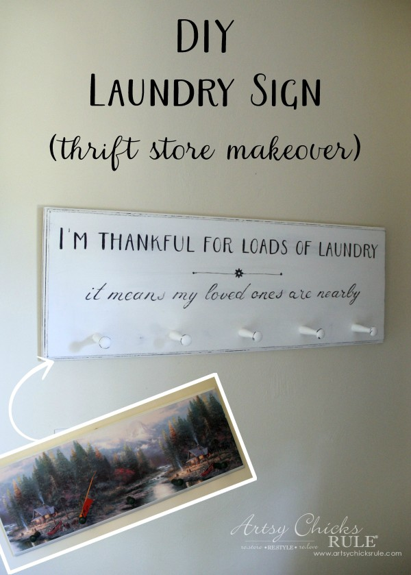 DIY Laundry Sign - thrift store makeover - BEFORE & AFTER - artsychicksrule.com #laundrysign