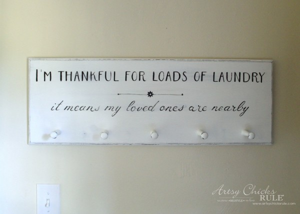 DIY Laundry Sign - thrift store makeover - UP CLOSE - artsychicksrule.com #laundrysign
