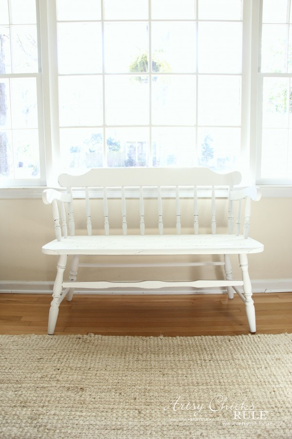 French Poem White Bench Makeover - After Front - #frenchfurniture #whitebench #makeover artsychicksrule