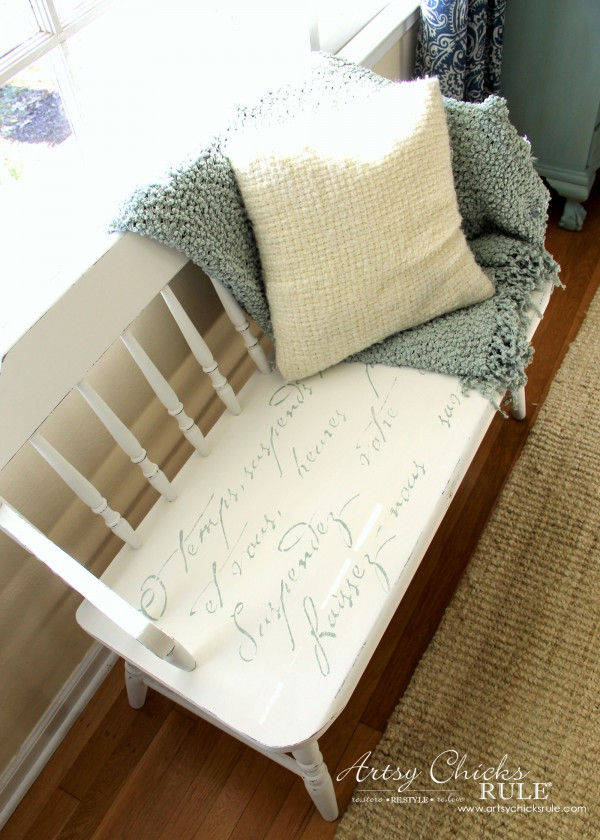 French Poem White Bench Makeover - After Seat - #frenchfurniture #whitebench #makeover artsychicksrule