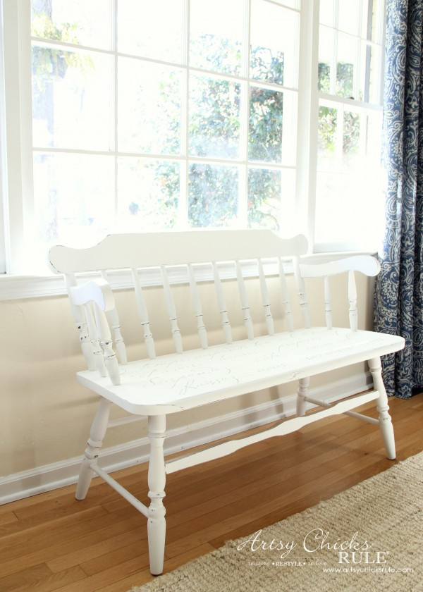 French Poem White Bench Makeover - After Side - #frenchfurniture #whitebench #makeover artsychicksrule