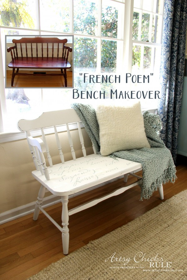 French Poem White Bench Makeover - Before and After - #frenchfurniture #whitebench #makeover artsychicksrule