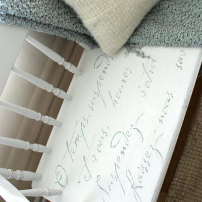 French Poem White Bench Makeover