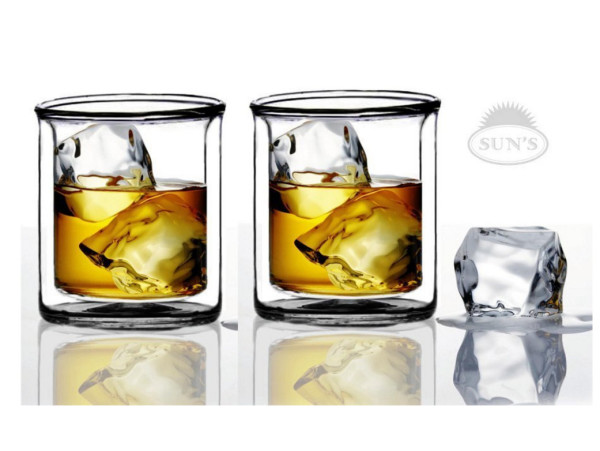 Sun's Tea 9 oz Strong Double Wall Manhattan Style old-fashioned Scotch-Whiskey Glasses, Set of 2