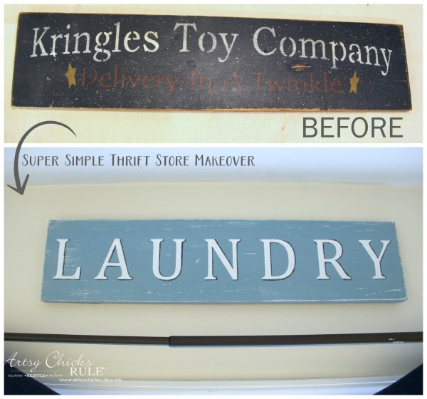 Antiqued Laundry Sign - BEFORE with vinyl - artsychicksrule #laundrysign #diylaundrysign #thriftymakeover