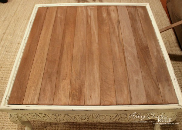 Coffee Table Makeover Using Old Flooring - DRIFTWOOD STAIN - artsychicksrule #coffeetable