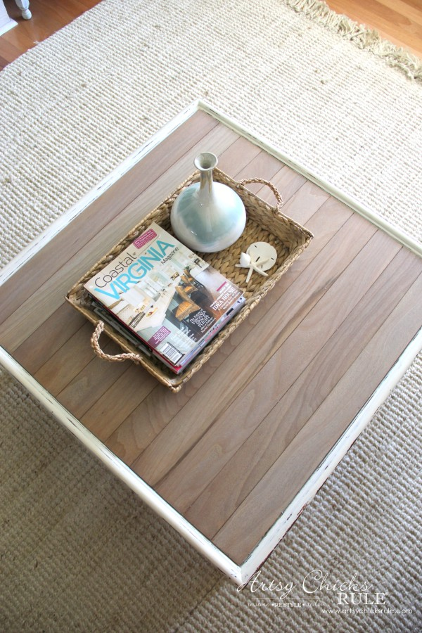 Coffee Table Makeover Using Old Flooring - DRIFTWOOD STAIN finish - artsychicksrule #coffeetable