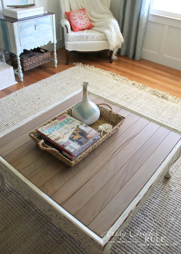 Coffee Table Makeover Using Old Flooring - DRIFTWOOD - artsychicksrule #coffeetable