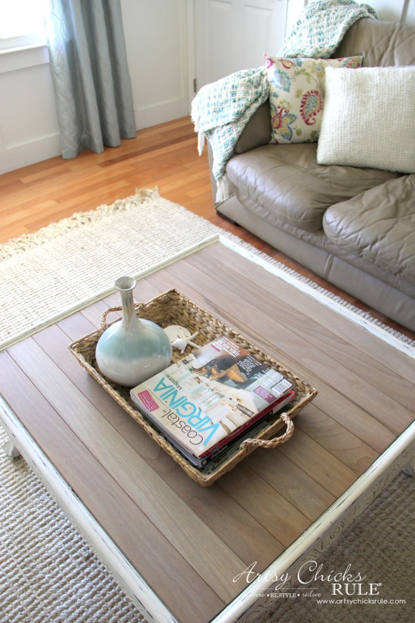 Coffee Table Makeover Using Old Flooring - DRIFTWOOD coastal look - artsychicksrule #coffeetable