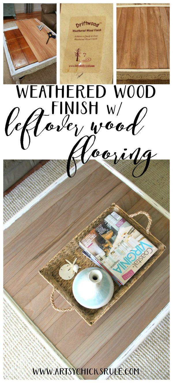 Make a weathered top with OLD WOOD FLOORING!! Easy! artsychicksrule.com