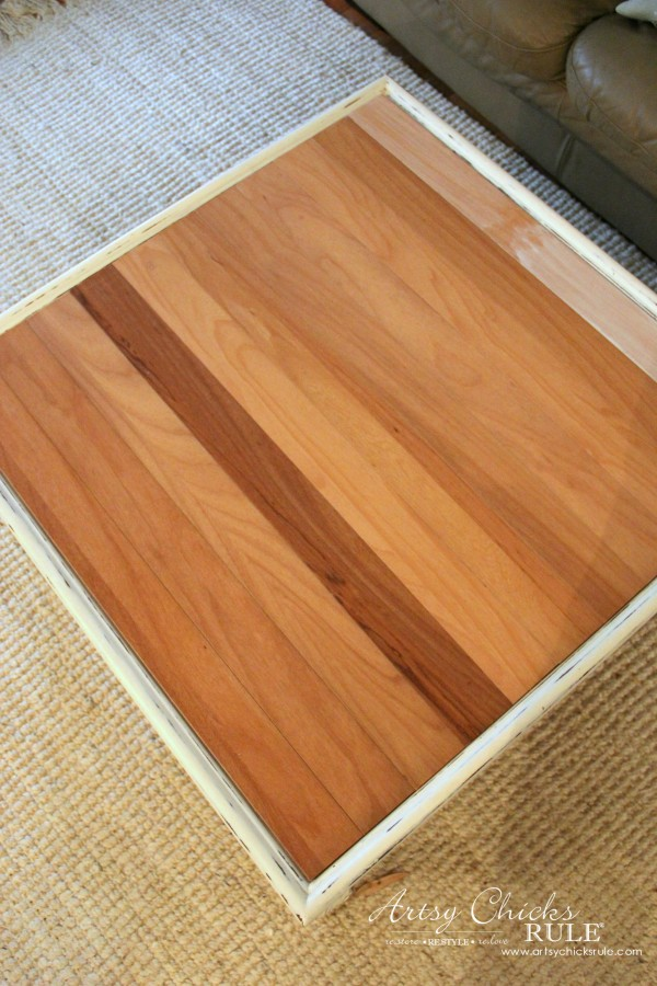 Coffee Table Makeover Using Old Flooring - original plan - artsychicksrule #coffeetable