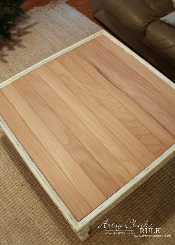 Coffee Table Makeover Using Old Flooring - unfinished - artsychicksrule #coffeetable