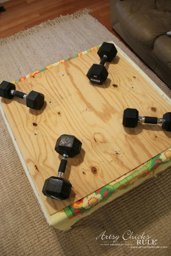 Coffee Table Makeover Using Old Flooring - weighted - artsychicksrule #coffeetable