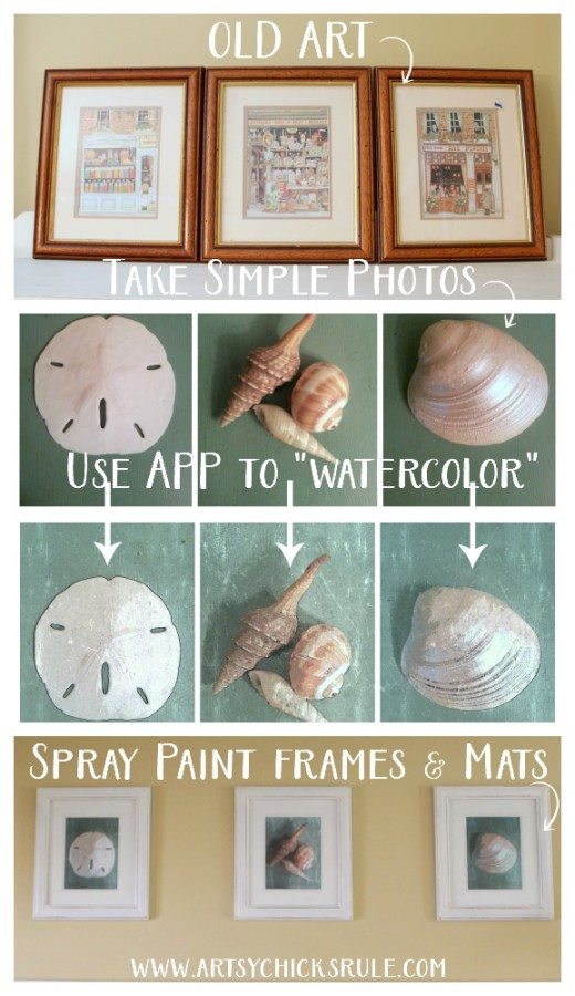 DIY Coastal Wall Art - SUPER EASY AND THRIFTY WALL DECOR - artsychicksrule #wallart #coastaldecor