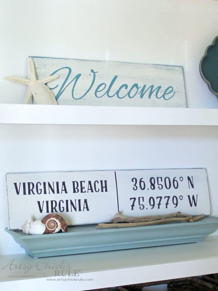 DIY Coordinates Sign - SUPER EASY - artsychicksrule #silhouette #diy #sign #coastaldecor