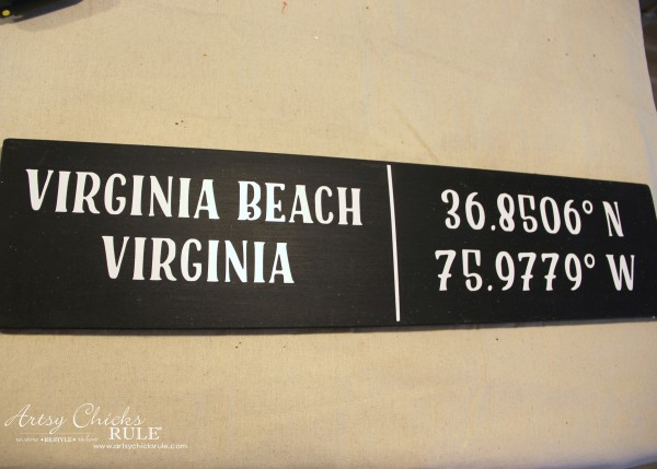 DIY Coordinates Sign - attach vinyl lettering - artsychicksrule #silhouette #diy #sign #coastaldecor