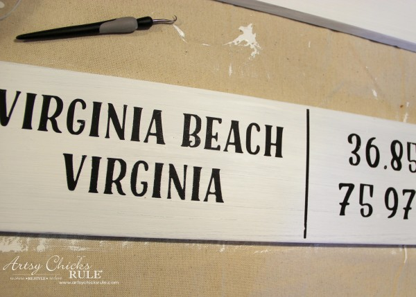 DIY Coordinates Sign - vinyl lettering removed revealing black letters - artsychicksrule #silhouette #diy #sign #coastaldecor