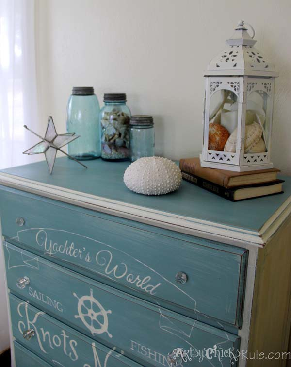 Thrift Store Dresser- Coastal Theme- Annie Sloan Chalk Paint