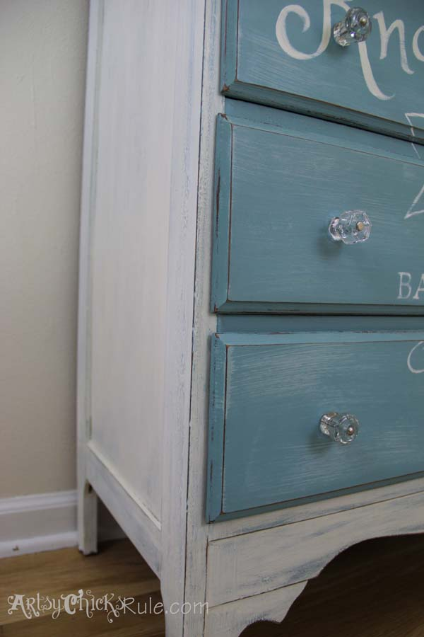 Thrift Store Dresser- Custom Graphics Up Close Corner - Annie Sloan Chalk Paint