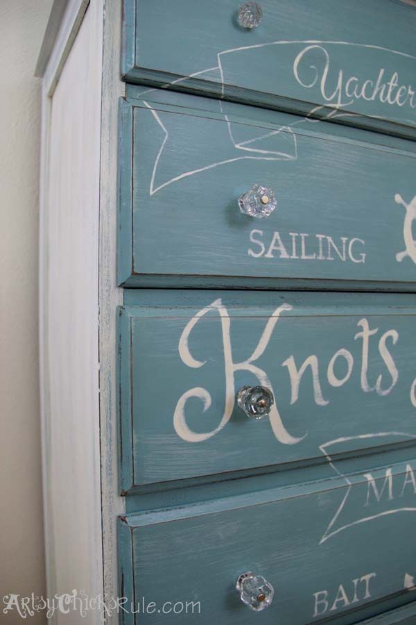 Thrift Store Dresser Up Close Custom Graphics-Annie Sloan Chalk Paint