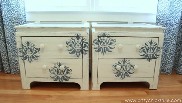 Aubusson Blue Stenciled Thrift Store Night Stand Makeover {Chalk Paint} - after front - artsychicksrule