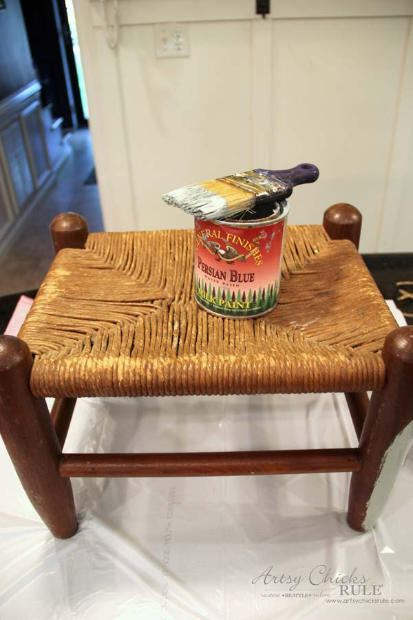 Beachy Footstool Makeover - artsychicksrule #coastaldecor #beachdecor