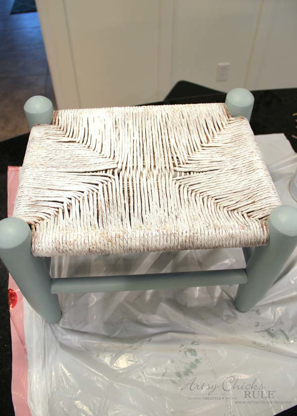 Beachy Footstool Makeover - just paint it -artsychicksrule #coastaldecor