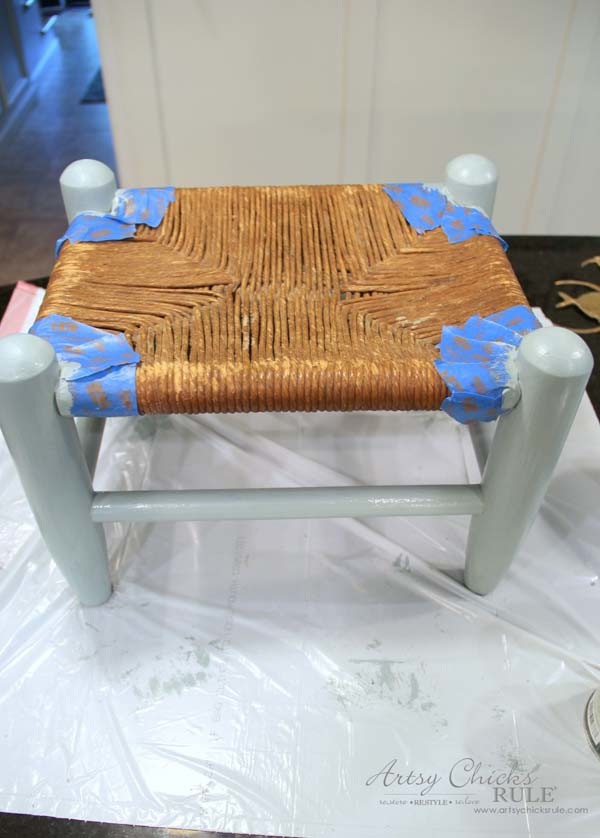 Beachy Footstool Makeover - paint it - artsychicksrule #coastaldecor