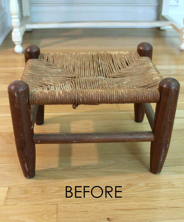 Beachy Footstool Makeover - thrifty makeover artsychicksrule #coastaldecor